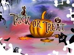 Trick or Treat, Halloween, Kot, Grafika, Dynia, Napis