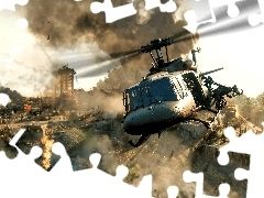 Ruiny, Helikopter, Call of Duty Black Ops Cold War, Ogień, Gra